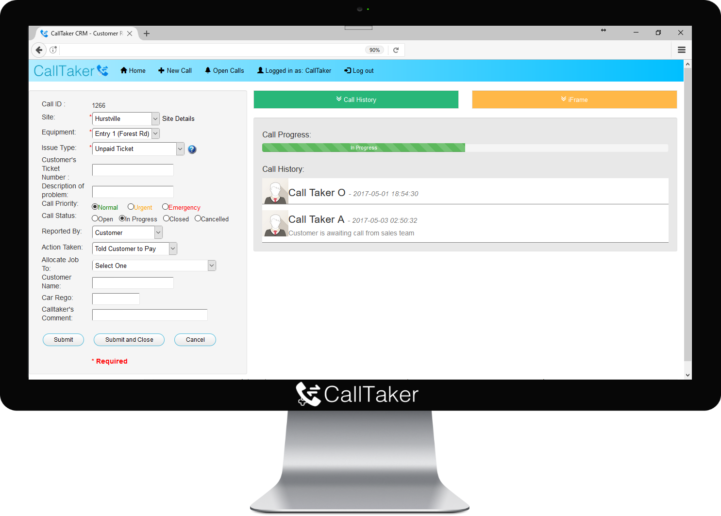 CallTaker Call Logging